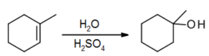 1-Methylcyclohexene reacts with water and acid to form 1-methylcyclohexanol