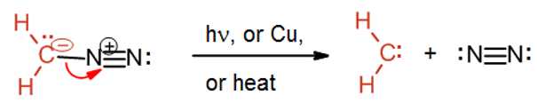CH2N2 decomposes in light to form the carbene :CH2