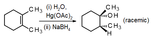 Hydration of 1,2-dimethylcyclohexene using Hg(OAc)2 to give the anti alcohol