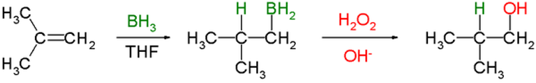 Hydroboration of isobutylene, followed by oxidation with alkaline hydrogen peroxide, to give an anti-Markovnikov alcohol