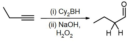 Hydroboration-oxidation of but-1-yne to produce butanal