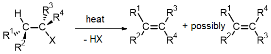 Generic elimination reaction of HX from RX to make an alkene