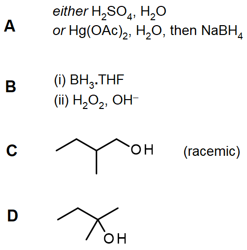 Answers to questions on hydration of alkenes