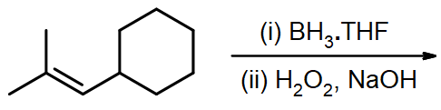 What is hydroboration-oxidation product of 2-methylprop-1-enylcyclohexane?