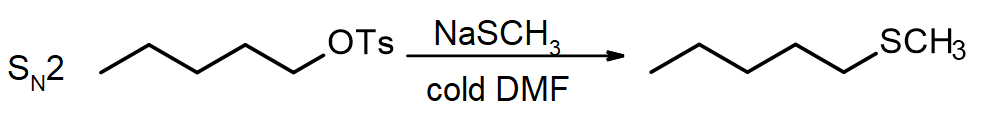 pentyl tosylate reacts with NaSCH3 to produce a thioether