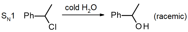 1-chloro-1-phenylethane reacts with water to produce 1-phenylethanol