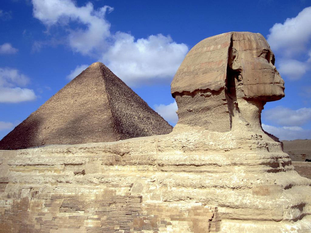 The Sphinx and the Great Pyramid of Khufu at Cairo, Egypt