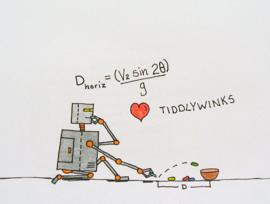 Cartoon showing a robot playing tiddlywinks. Thought bubble shows him considering the following function: D horizon=(V2sin2ø)/g