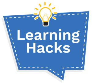 "Decorative image - sign that says ""Learning Hacks"""