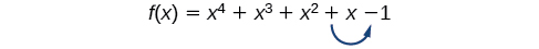 Polynomial function f(x)=x^4+x^3+x^2+x-2 showing one sign change between +x and -2
