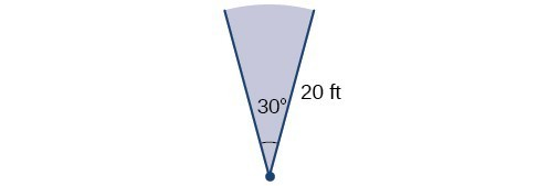 Illustration of a 30 degree ange with a terminal and initial side with length of 20 feet.