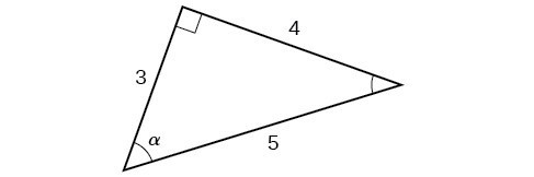 Right triangle with sides of 3, 4, and 5. Angle alpha is also labeled.