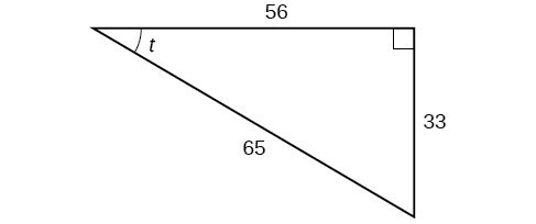 Right triangle with sides 33, 56, and 65. Angle t is also labeled.