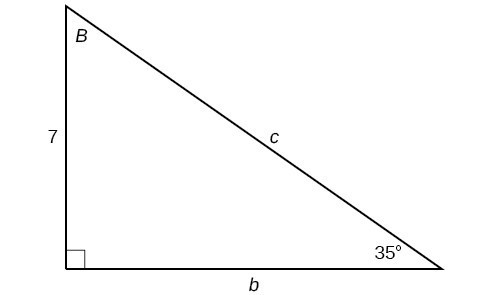A right triangle with sides of 7, b, and c. Angles of 35 degrees and B are also labeled.