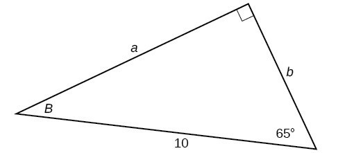 A right triangle with sides of a, b, and 10 labeled. Angles of 65 degrees and B are also labeled.