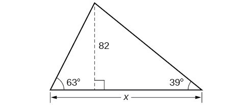 A triangle with angles of 63 degrees and 39 degrees and side x. Bisector in triangle with length of 82.