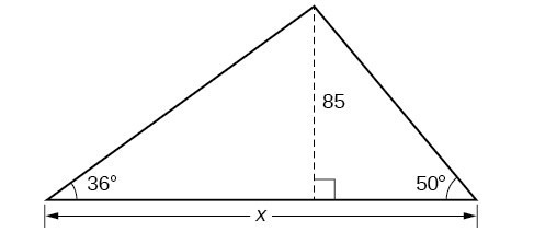 A triangle with angles of 36 degrees and 50 degrees and side x. Bisector in triangle with length of 85.