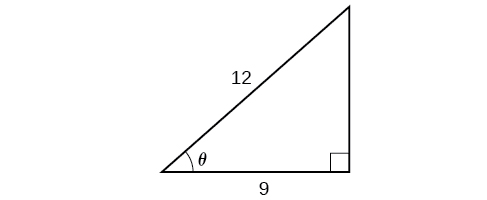 An illustration of a right triangle with the angle theta. Adjacent to the angle theta is a side with a length of 9 and a hypoteneuse of length 12.