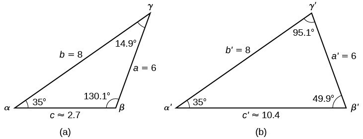 There are two triangles with standard labels. Triangle a is the orginal triangle. It has angles alpha of 35 degrees, beta of 130.1 degrees, and gamma of 14.9 degrees. It has sides a = 6, b = 8, and c is approximately 2.7. Triangle b is the extended triangle. It has angles alpha prime = 35 degrees, angle beta prime = 49.9 degrees, and angle gamma prime = 95.1 degrees. It has side a prime = 6, side b prime = 8, and side c prime is approximately 10.4.