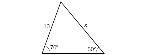 A triangle with an angle of 50 degrees and opposite side of length 10. Another angle is 70 degrees with side opposite of length x.