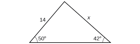 A triangle. One angle is 50 degrees with opposite = x. Another angle is 42 degrees with opposite side = 14.