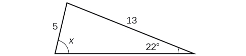 A triangle. One angle is 22 degrees with side opposite = 5. Another angle is x degrees with opposite side = 13.