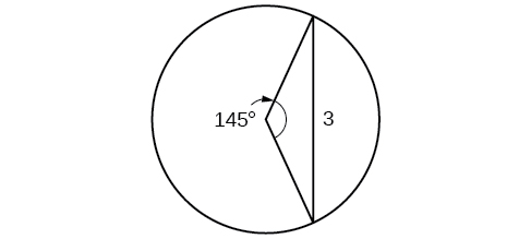 A triangle inscribed in a circle. Two of the legs are radii. The central angle formed by the radii is 145 degrees, and the opposite side is 3.