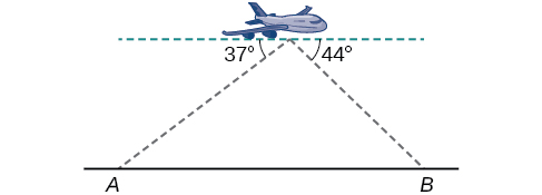 A triangle formed by points A and B on the ground and a plane in the air between them. Side A B is the horizontal ground. There is a horizontal dotted line parallel to the ground going through the plane. The angle formed by the dotted horizontal, the plane, and point A is 37 degrees. The angle between the dotted horizontal, the plane, and point B is 44 degrees.
