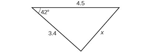 A triangle. One angle is 42 degrees with opposite side = x. The other two sides are 4.5 and 3.4.