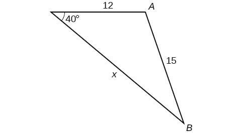 A triangle. One angle is 40 degrees with opposite side = 15. The other two sides are 12 and x.