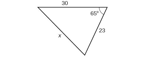A triangle. One angle is 65 degrees with opposite side = x. The other two sides are 30 and 23.