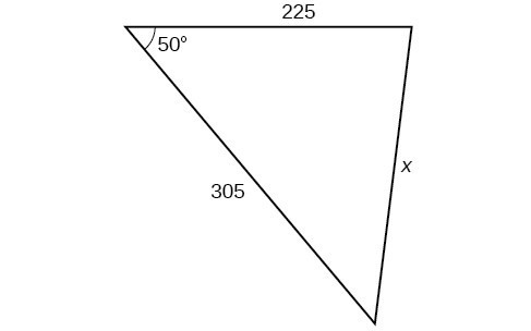 A triangle. One angle is 50 degrees with opposite side = x. The other two sides are 225 and 305.