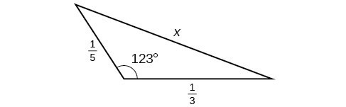 A triangle. One angle is 123 degrees with opposite side = x. The other two sides are 1/5 and 1/3.