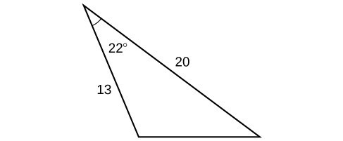 A triangle. One angle is 22 degrees with opposite side unknown. The other two sides are 20 and 13.
