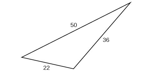 A triangle with sides 50, 22, and 36. Angles unknown.