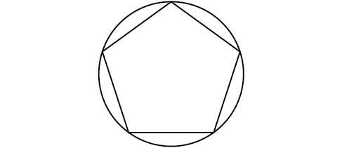 A pentagon inscribed in a circle.