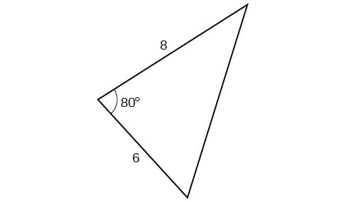A triangle. One angle is 80 degrees with opposite side unknown. The other two sides are 8 and 6.