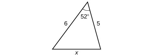 A triangle. One angle is 52 degrees with opposite side = x. The other two sides are 5 and 6.
