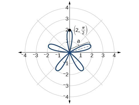 Graph of rose curve r=2sin(5theta). Five petals equally spaced around origin. Point (2, pi/2) on edge is marked.