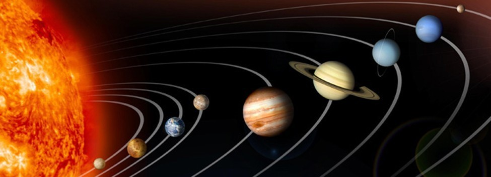 The planets and their orbits around the sun. (Pluto is included.)