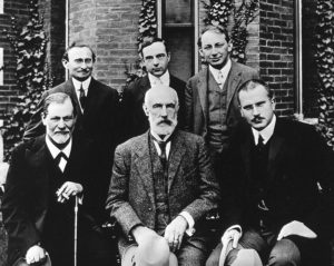 Photograph of early psychologists, including Freud and Hall.