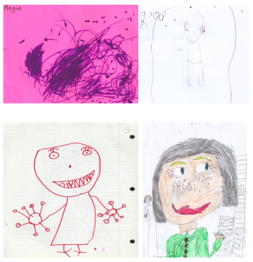 Four images drawn by young girls. The top left image shows lots of scribbles and lines, drawn by a 2 year old. The next image shows a stick-figure type drawing with a large head, rectangular body, and lines for legs. Next comes a stick-figure with more detail, like eyelashes, teeth, and fingers. Lastly, the drawing of a girl shows the full detail of a face with hair, freckles, red lips, and neatly-colored clothing.