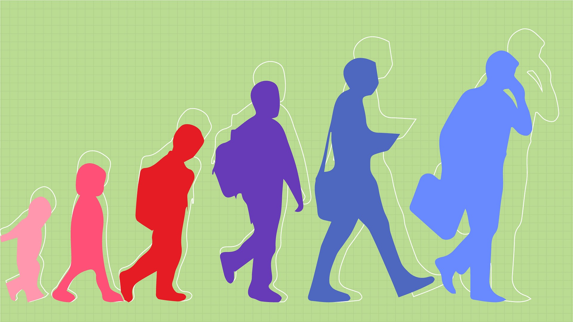 Graphic of stages of human growth from infancy to adulthood