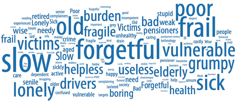 Word cloud showing large words life slow, forgetful, vulnerable, grumpy, frail, old, poor, sick, lonely, and medium-sized words like useless, helpless, drivers, boring, burden, victims, bad. Smaller words are wise, retired, senior, costly, help, need, and active.
