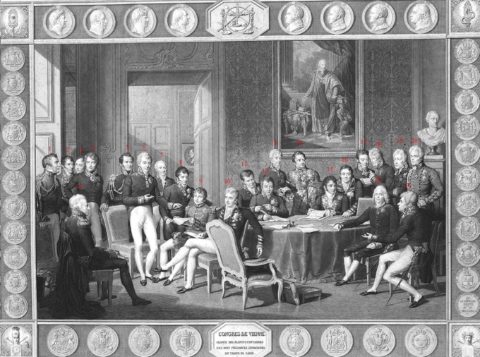 A drawing of the participants of the Congress of Vienna, seated or standing in a lavishly decorated parlor room.