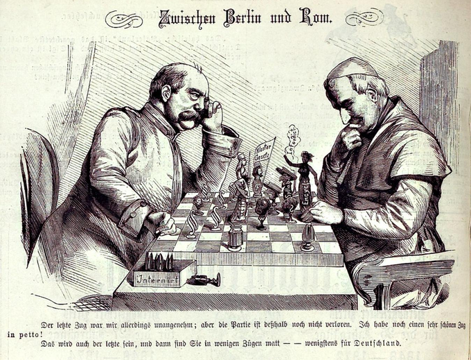 A political cartoon depicting a chess game between Bismarck and the Catholic Pope.