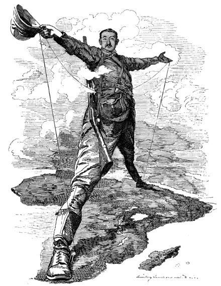 A cartoon depicting Cecil Rhodes standing over Africa, with one foot in South Africa and the other in Egypt.