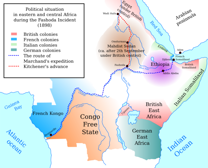 A map of central and east Africa, 1898, during the Fashoda Incident. It shows the various spheres of influence of different European powers, a North-South line indicating the British ambitions and a East-West line indicating French ambitions.