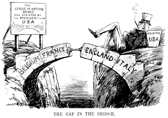 """A political cartoon that depicts a bridge made of stones labeled """"Belgium,"""" """"France,"""" """"England,"""" and """"Italy,"""" with the middle stone missing and held only by a brace. To the side of the bridge Uncle Sam is lounging on the missing stone labeled """"Keystone: USA""""."""
