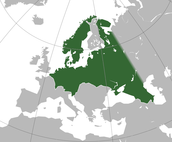 """A map of Europe showing the German plan for """"Greater Germany"""" in green, a state that expands the German borders into Scandinavia and Eastern Europe."""